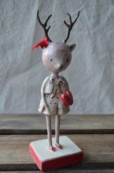 Folk Art Paperclay Pink Valentine Deer by apinchofprim on Etsy
