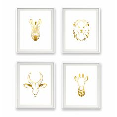 Safari Gold Foil Animal Print Collection