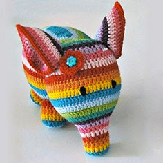stripey elephant amigurumi crochet pattern
