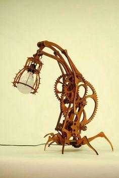 weird steampunk gear light stand lamp