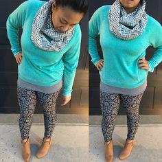 c52b5aca52f36b LuLaroe style, how to wear leggings, pattern mixing, fall outfits, LuLaroe  outfits