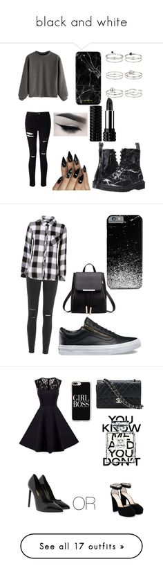 """black and white"" by martialartsqueen ❤ liked on Polyvore featuring Miss Selfridge, Dr. Martens, Kat Von D, Paige Denim, Rails, Vans, Yves Saint Laurent, Jimmy Choo, Chanel and Casetify"