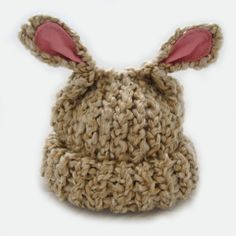 Beige Lamb Eared Soft Knit Baby Hat Newborn to Infant -- AND THIS!!
