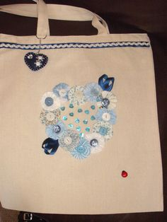 Hand Sewn Embelished Cotton Shopping Bags by Blandsgill on Etsy, £10.00