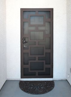 what does security door cost Metal Screen Doors, Wrought Iron Doors, Door Grill, Window Grill Design, Deco Zen, Steel Security Doors, Iron Gate Design, Diy Home Security, Portal
