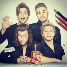 One Direction | Happy 5th Anniversary Fan Art Drawn by @_artistiq<<<This is insane. I don't understand how you can draw a picture of them and it actually look like the boys, like how?
