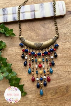 Boho Necklace Long Necklace Crystal Necklace Pendant Necklace Beaded Necklace Tribal Necklace Boho Chic Boho Jewelry Gift for Her #crystalnecklace #bohonecklace #bohojewelry #pendantnecklace