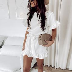Buy Cheap Fashion Casual Solid Color Round Neck Fuffled Short Sleeve lace up Women Dress Casual Short Sleeve Women Dress Summer Dress Online - Hplify