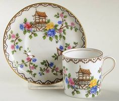 Aynsley, John Pagoda Flat Demitasse Cup & Saucer Set