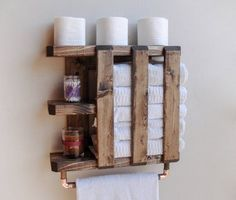 Home Remodel Planner DIY Bathroom Towel Storage Ideas Remodel Planner DIY Bathroom Towel Storage Ideas Wooden Shelf Design, Diy Wooden Shelves, Rustic Bathroom Shelves, Rustic Shelves, Diy Bathroom Decor, Wooden Diy, Bathroom Vintage, Bathroom Ideas, Rustic Ladder