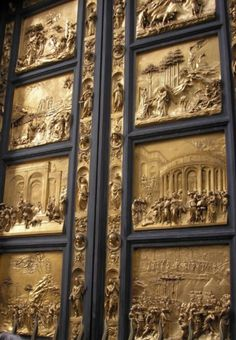 Baptistry Doors at the Cathedral of Florence, Italy. Designed by Ghiberti, named the Gates of Paradise by Michelangelo.