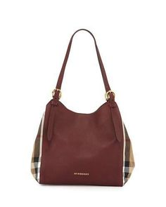 Burberry Leather Check-Side Hobo Bag, Mahogany Red