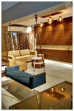 Premium Minimalism At Its Best Interior Design by Chintan Patel Living Room Partition Design, Room Partition Designs, Living Room Sofa Design, Bedroom Furniture Design, Home Room Design, Home Living Room, Living Room Designs India, Indian Living Rooms, Room Swing