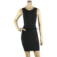 Herve Leger Black Boatneck Bandage Dress HL562BL