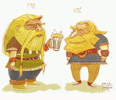 juanbjuan children illustration: Fili and Kili (The Hobbit)