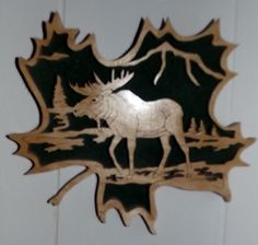 Moose in Leaf Plaque.  Email for info!