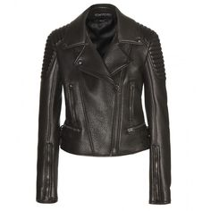 Tom Ford Leather Biker Jacket ($6,045) ❤ liked on Polyvore featuring outerwear, jackets, coats, brown, real leather jacket, tom ford, leather jacket, brown moto jacket and biker jacket