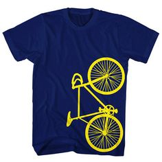 Fixie bike printed with yellow ink on your choice of:  lightweight 4.5 oz 100% ringspun cotton tee shirt (limited colors for this selection) or a 100% cotton 6 oz boxy cut heavyweight tee (select color-heavyweight for this option)   Each shirt is hand screenprinted to order.