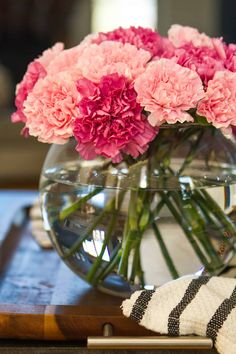 This stunningly simple carnation flower arrangement requires only a pair of floral shears, a bubble vase, and about 5 minutes of time to create! Carnation Centerpieces, Carnation Bouquet, Pink Carnations, Pink Flower Arrangements, Vase Arrangements, Fresh Flowers, Pink Flowers, Beautiful Flowers, Stickers
