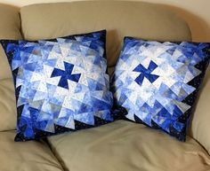Set of Two Quilted Throw Pillows - 18 inch Blue Silver White Twister Christmas Pillows, Quiltsy Handmade Patchwork Quilts by QuiltSewPieceful on Etsy