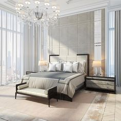 Image may contain: table, bedroom and indoor Luxury Homes Interior, Home Interior Design, Grey Furniture, Furniture Design, Master Bedroom, Bedroom Decor, Bedroom Ideas, Vintage Shabby Chic, Apartments