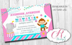 Pink Circus Digital Invitation por SweetDesignsCR en Etsy