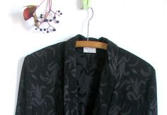 Vintage 80s Black silk burnout tunic jacket by vintachi on Etsy, $32.00