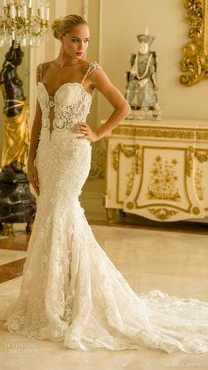 amalia carrara spring 2016 bridal cap sleeves embellished straps sweetheart mermaid beaded wedding dress (341) mv