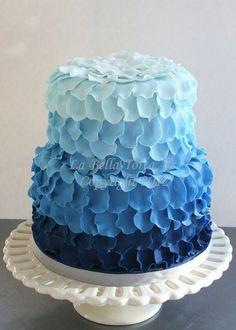 Blue petal ruffle ombre cake