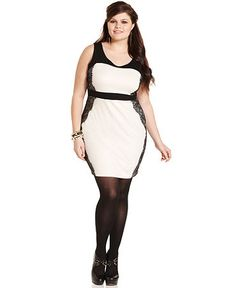 Soprano Plus Size Dress, Sleeveless Colorblocked Lace  Web ID: 779481  Be the first to write a review.  Reg. $72.00  Was $43.99  Sale $34.99