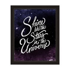Inspire children with this 'Shine Like the Stars in the Universe' framed wall art print, featuring an inspirational quote in white over a background of stars in outer space to remind them of the vastn