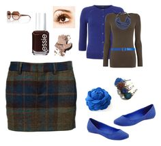 """What to Wear - Brown and Royal Blue"" by rose-meister ❤ liked on Polyvore featuring Kenneth Cole Reaction, Dsquared2, Essie, Dorothy Perkins, Oasis, Rossana Fani, Maison Boinet, Bobbi Brown Cosmetics, Tory Burch and women's clothing"