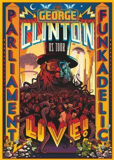 Toujours en quête de fonds pour renflouer le Mothership, George Clinton propose cette spectaculaire affiche de concert sur son site pour la modique somme de 25$, ou 50 $ pour ceux qui le voudraient signé de la main du Dr. Funkenstein !