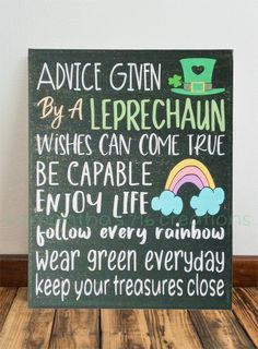 Leprechaun Sign Quotes For Kids Painted Canvas St. Patrick's Day painting for kids to make Leprechaun Sign Quotes For Kids Painted Canvas St. Saint Patricks Day Art, St Patricks Day Crafts For Kids, St Patrick's Day Crafts, Canvas Wall Decor, Canvas Signs, Sparkle Paint, Green Wall Decor, Kobold, Kids Background
