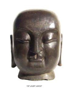 Chinese Hand Carved Stone Buddha Head Statue f682   650-522-9888 goldenlotusinc@yahoo.com #garden #stonestatue #Zengarden #Buddha #interior #Meditation