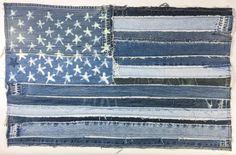 Denim American Flag, denim flag, wall art, US flag, usa flag, handcrafted, denim jeans, patched denim, patches, denim lovers, holiday, gift