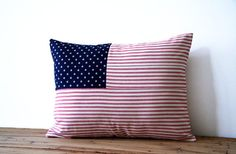 """stars and stripes pillow cover  / flag pillow / red white blue / patriotic / 12"""" x 16"""" / cottage chic / fourth of July / summer decor on Etsy, $36.00"""