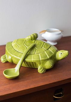 I Put a Shell on You Soup Tureen. Your cuisine will stay warm and delightful in this turtle-shaped soup tureen! #green #modcloth
