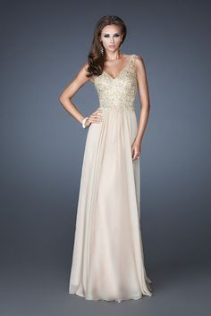 2014 V Neck Low Back Floor Length Chiffon Dress With Applique And Beads