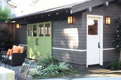 Grey shed colour. ramona street - Traditional - Garage And Shed - San Francisco - helena barrios vincent aia leed ap Shed Colours, House Colors, Shed Design, Door Design, Garden Design, Houzz, Traditional Sheds, Garage Door Styles, Garage Doors