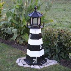 Longshore Tides Lea Bodie Island Replica Garden Art   Wayfair #MiniSolarLightsForCrafts Garden Lighthouse, Clay Pot Lighthouse, Lighthouse Decor, Solar Light Crafts, Diy Solar, Solar Lights, Solar Led, Firefly Mason Jars, Solar Mason Jars