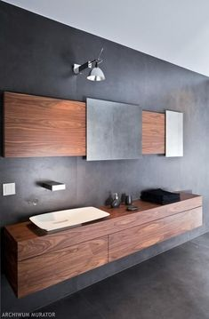 modern bathroom minimalist design gray wall color wall mounted vanity cabinet modern sink Source by celinaideas I do not take credit for the images in th. Master Bathroom Vanity, Bathroom Sink Cabinets, Modern Master Bathroom, Minimalist Bathroom, Modern Bathroom Design, Modern Sink, Bathroom Designs, Bathroom Vanities, Bathroom Gray