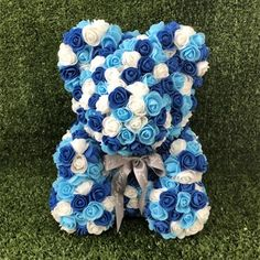 Blue Rose Teddy Bear on Mercari Silver Wedding Crowns, Crystal Wedding, Bear Wedding, Bride Tiara, Luxury Flowers, Bride Hair Accessories, Flower Girl Gifts, Christening Gifts, Floral Centerpieces