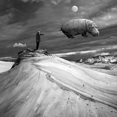 Polish photographer Dariusz Klimczak composes dreamlike landscapes that hypnotize with their surprise and weirdness. The photographer's digital photo manipulations open the door to his imaginative world, where a desolate desert is brought to life by quirky and playful characters.