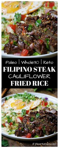 Paleo Filipino Skirt Steak Cauliflower Fried Rice ! Low carb cauliflower fried rice with gluten-free steak marinade pan seared in cast iron skillet. Add this easy healthy recipe to your Paleo, Keto, and Whole30 meal plan. Follow the link for quick video t