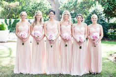 blush bridesmaids dress inspiration via www. Blush Bridesmaid Gowns, Pale Pink Bridesmaids, Wedding Bridesmaids, Blush Dresses, Pretty Dresses, Wedding Attire, Wedding Dresses, Romantic Dresses, Couture