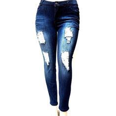 f718178c2140a SL 1826 WOMENS PLUS SIZE Stretch Distressed Ripped BLUE SKINNY DENIM...  ( 22) ❤…