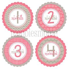 Baby Girl Month Stickers Monthly Baby Stickers by MaddiesMomE, $8.99