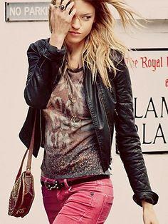#fashion #stylish #black #leather #jacket #pink #jeans