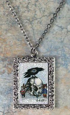 Raven and Skull Art Pendant Necklace by NoMonet Full Court Press, http://www.amazon.com/dp/B001LCTZES/ref=cm_sw_r_pi_dp_lfSGqb1JG0TWA